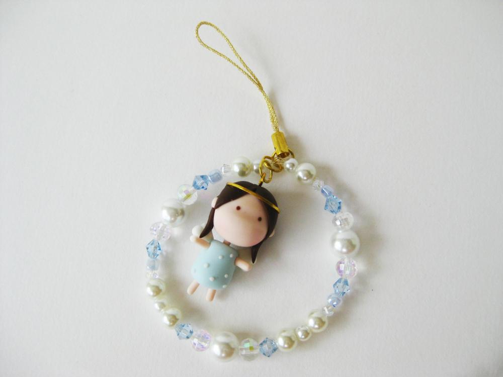Mantou Angel Keychain Clay ( Light Blue )
