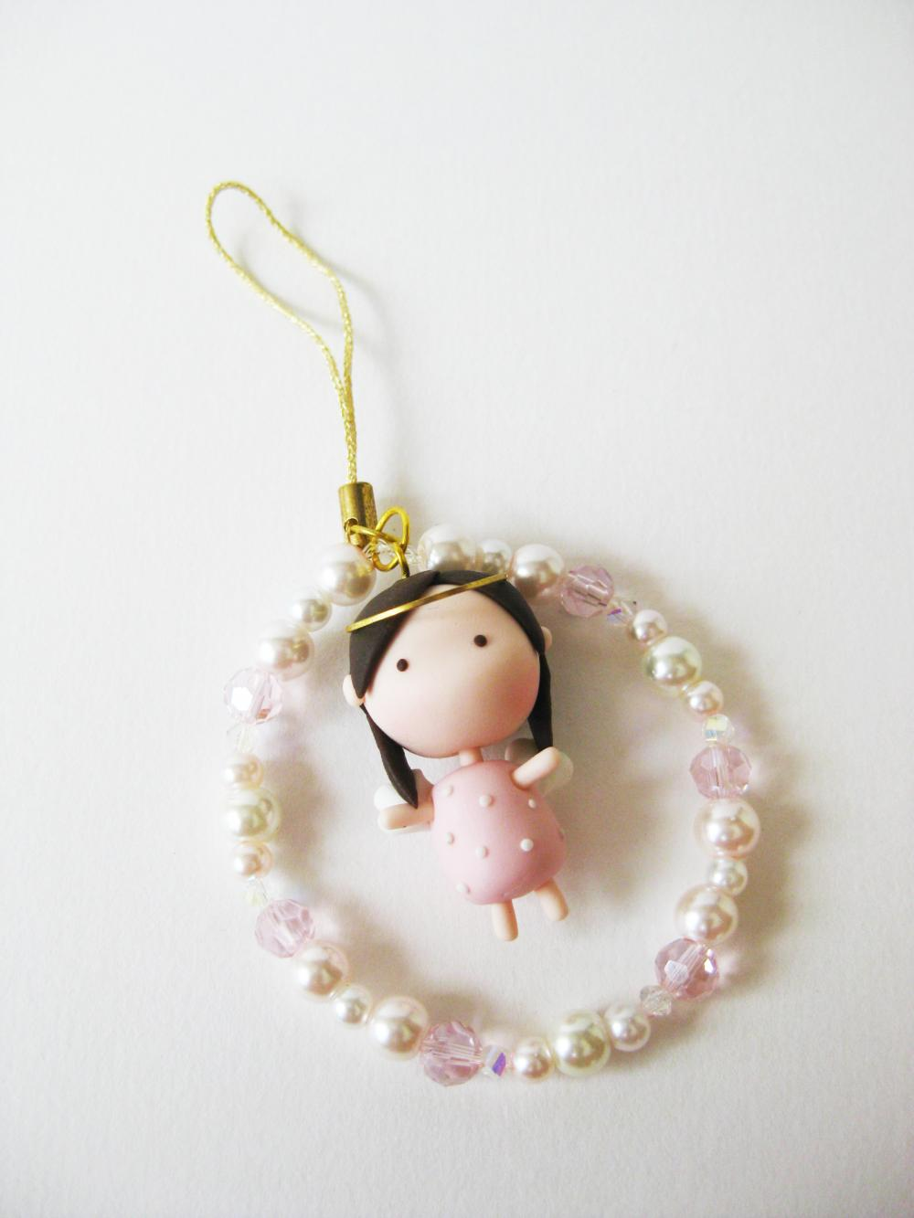 Mantou Angel Keychain Clay ( Pink )