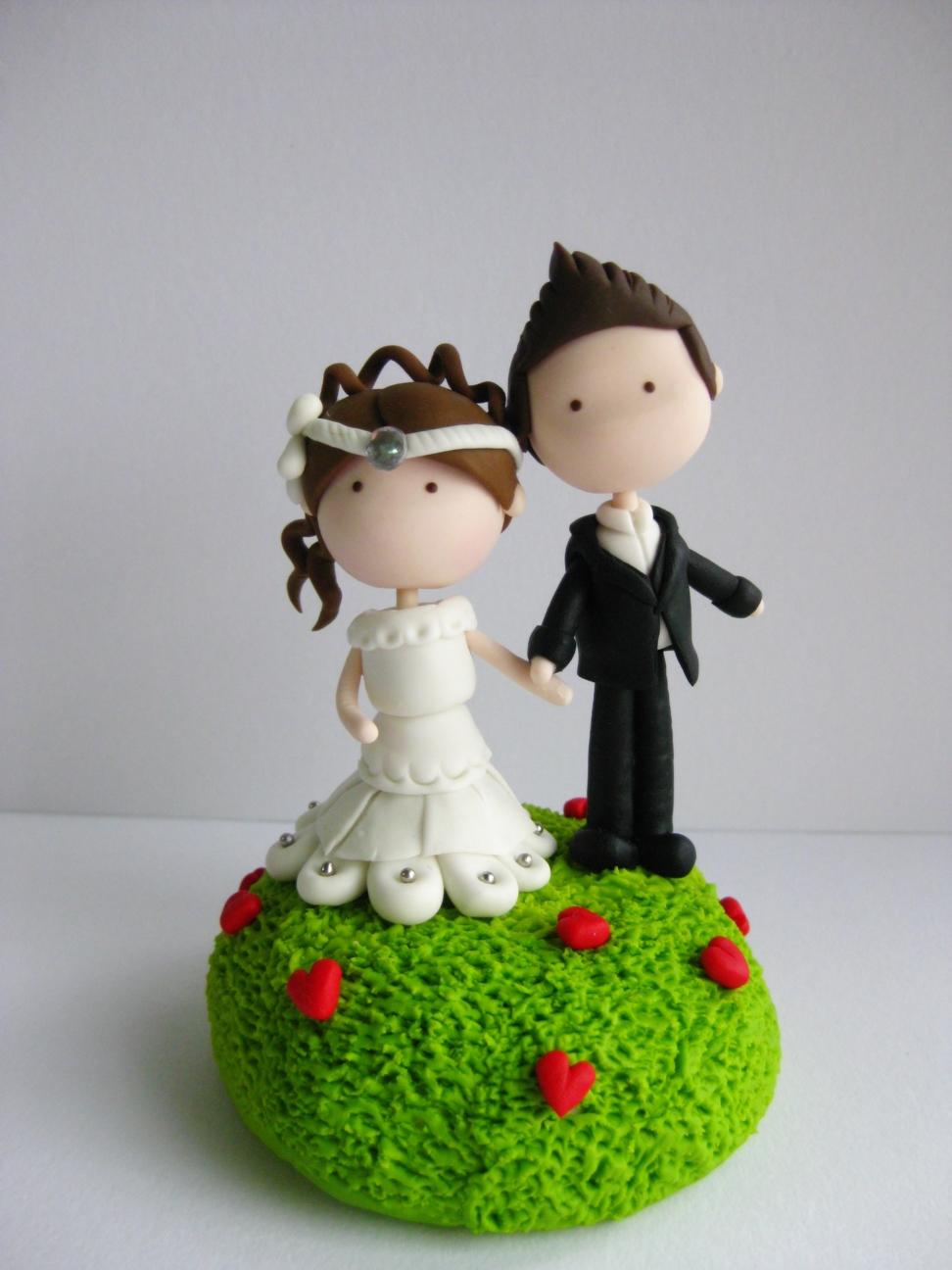 Wedding Clay Cake Topper - Garden of Love (Not Edible)