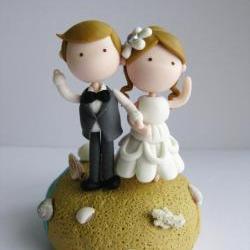 Wedding Clay Cake Topper - Beach Theme (Not Edible)
